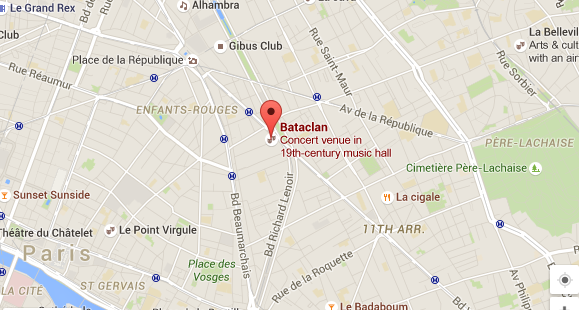 Bataclan Concert Hall Paris Map.At Least 100 Dead In Assault On Paris Concert Hall
