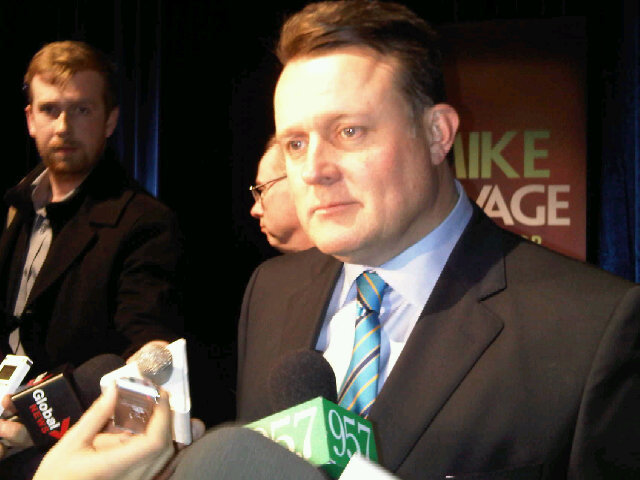 Former MP Mike Savage announces his run for mayor, February 6, 2012.