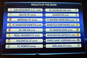 The match fixtures are shown on an electronic panel following the draw of the games for the round of 16 of the UEFA Champions League at the UEFA Headquarters in Nyon, Switzerland, Thursday, Dec. 20, 2012. (AP Photo/Keystone, Laurent Gillieron)