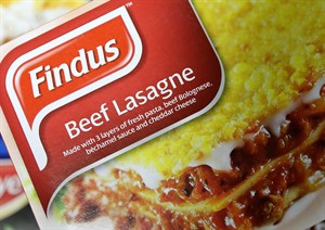 """A Findus Beef Lasagne photographed in a shop in Jarrow, England, Friday, Feb. 8, 2013. Frozen-food company Findus recalled the beef lasagne meals earlier this week after French supplier Comigel raised concerns that the products didn't """"conform to specification."""" The U.K. Food Standards Agency said the lasagnes were tested as part of an ongoing investigation into mislabeled meat. (AP Photo/Scott Heppell)"""