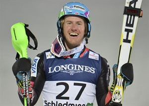 United States' Ted Ligety reacts after winning the slalom portion of the men's super-combined at the Alpine skiing world championships in Schladming, Austria, Monday, Feb. 11, 2013. (AP Photo/Kerstin Joensson)