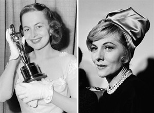 "FILE - This combination of file photos shows actress Joan Fontaine, right, in New York, on c, while her sister Olivia de Havilland, left, holding the Oscar she won for best actress at the Academy Awards in Hollywood on March 23, 1950. In rare public remarks about her sister and fellow Oscar-winning actress, Olivia de Havilland mourned the loss of Joan Fontaine, with whom de Havilland reportedly feuded for much of their lives. De Havilland on Monday Dec. 16, 2013 issued a statement to The Associated Press saying she was ""shocked and saddened"" by the news and that she was grateful for ""the many kind expressions of sympathies."" (AP Photo/Files)"