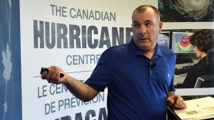 Meteorologist Bob Robichaud discusses the potential impacts of the 2015 hurricane season at a news conference in Dartmouth, N.S. on Wednesday, May 27, 2015. Robichaud says this year's hurricane season will likely be quieter than average due to the so-called El Nino effect and cooler ocean temperatures. THE CANADIAN PRESS/Andrew Vaughan