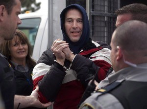 Christopher Phillips, whose chemical stockpiles caused police to order evacuations in two cities, arrives for his bail hearing at provincial court in Dartmouth, N.S., on Tuesday, March 17, 2015. An RCMP forensic scientist says the Halifax man at the centre of a high-profile chemical scare that led to evacuations in two cities had enough chemicals to make 11 different types of explosives. THE CANADIAN PRESS/Andrew Vaughan